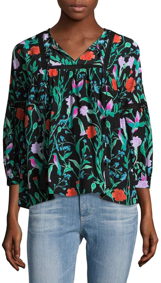 Kate Spade New York Women's Jardin Floral Silk Blouse