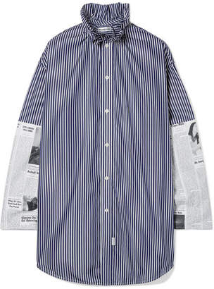 Balenciaga - Oversized Paneled Cotton-poplin Shirt - Navy