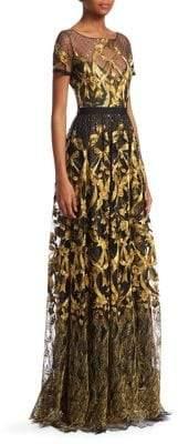 Marchesa Metallic Embroidered Gown