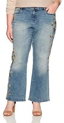 Denim Crush Women's Gold Leaf Print Bootcut Jean Plus Size