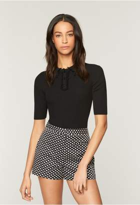 Milly Ruffled Polo Pullover
