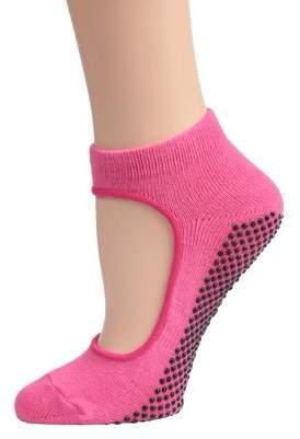 Dolce & Gabbana Sports Womens Mary Jane Yoga Sock with Grips, Pink- Small & Medium