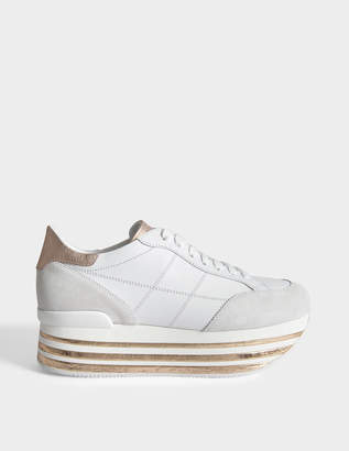 Hogan H349 Maxi Platform Sneakers with Cork Detail in White and Rose Gold Leather and Cork