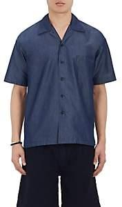 Fdmtl Men's Cotton-Blend Short-Sleeve Shirt-Blue Size Xs