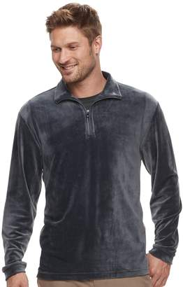 Haggar Men's Regular-Fit In-Motion Stretch Velour Quarter-Zip Pullover