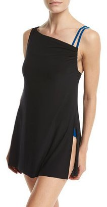Magicsuit Brianna High-Neck One-Piece Swimdress, Blue/Black, Plus Size $188 thestylecure.com