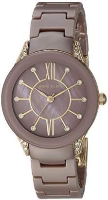 Anne Klein Women's AK/2388MVGB Swarovski Crystal Accented Gold-Tone and Ceramic Bracelet Watch