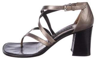 Ellen Tracy Leather Crossover Sandals