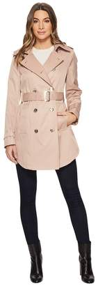 Calvin Klein Double Breasted Trench with Hi Lo Hem Women's Coat