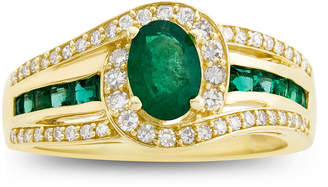 FINE JEWELRY Genuine Emerald & 1/3 C.T. T.W. Diamond 10K Yellow Gold Ring