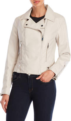 French Connection Pebbled Faux Leather Moto Jacket