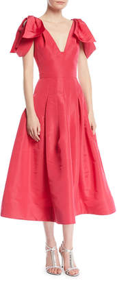 Oscar de la Renta V-Neck Bow-Shoulder Fit-and-Flare Tea-Length Silk Faille Cocktail Dress