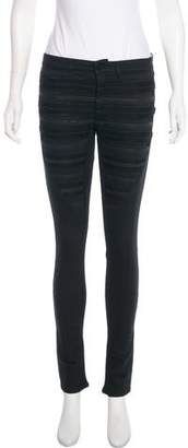 Superfine Leather-Trimmed Mid-Rise Jeans w/ Tags