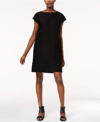 Eileen Fisher Washable Crepe Boat-Neck Side-Zip Dress