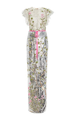 Monique Lhuillier Embroidered Sequin Cap Sleeve Gown