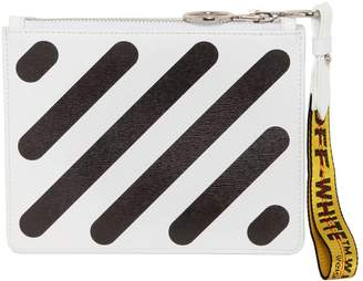 Off-White Diagonal Stripes Leather Pouch