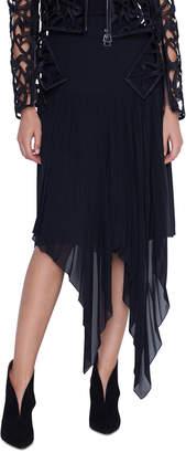 Akris Long Asymmetric Hem Chiffon Skirt