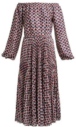Valentino Scale Print Off The Shoulder Pleated Midi Dress - Womens - Navy Multi