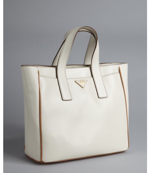 Prada white leather small square tote bag