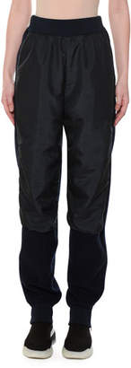 Stella McCartney Wool-Back Nylon-Front Jogger Pants