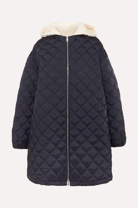Jil Sander Hooded Cotton Poplin-trimmed Quilted Shell Jacket - Navy