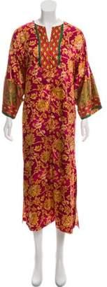 Oscar de la Renta Printed Satin Nightgown Magenta Printed Satin Nightgown