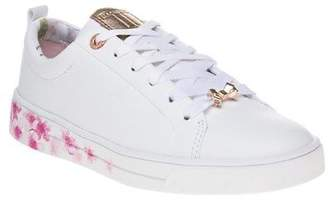 Ted Baker New Womens White Kelleip Leather Trainers Court Lace Up