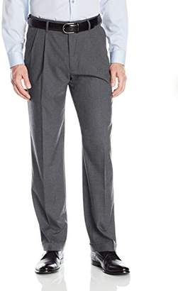 Haggar Men's Premium Stretch Solid Gabardine Expandable Waist Pleat Front Dress Pant