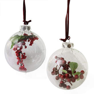 Asstd National Brand Set of 2 Clear Glass Christmas Ball Ornaments with Red and Burgundy Berries 3.5