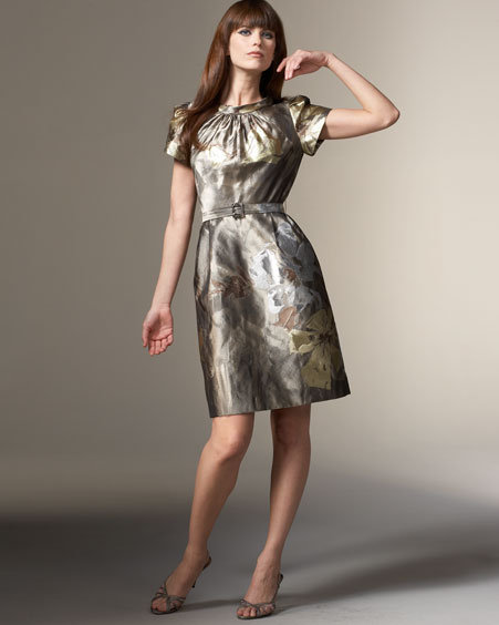 Rickie Freeman for Teri Jon Belted Metallic Brocade Dress