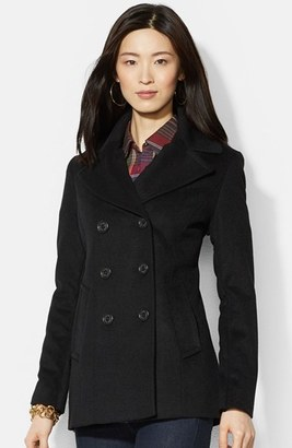 Women's Lauren Ralph Lauren Double Breasted Wool Blend Peacoat $220 thestylecure.com