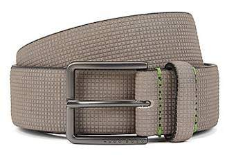 HUGO BOSS Nubuck-leather belt with embossed texture
