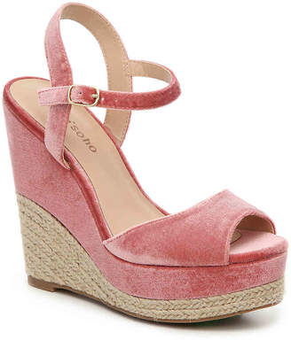 Women's Caridee Velvet Wedge Sandal -Blush $80 thestylecure.com