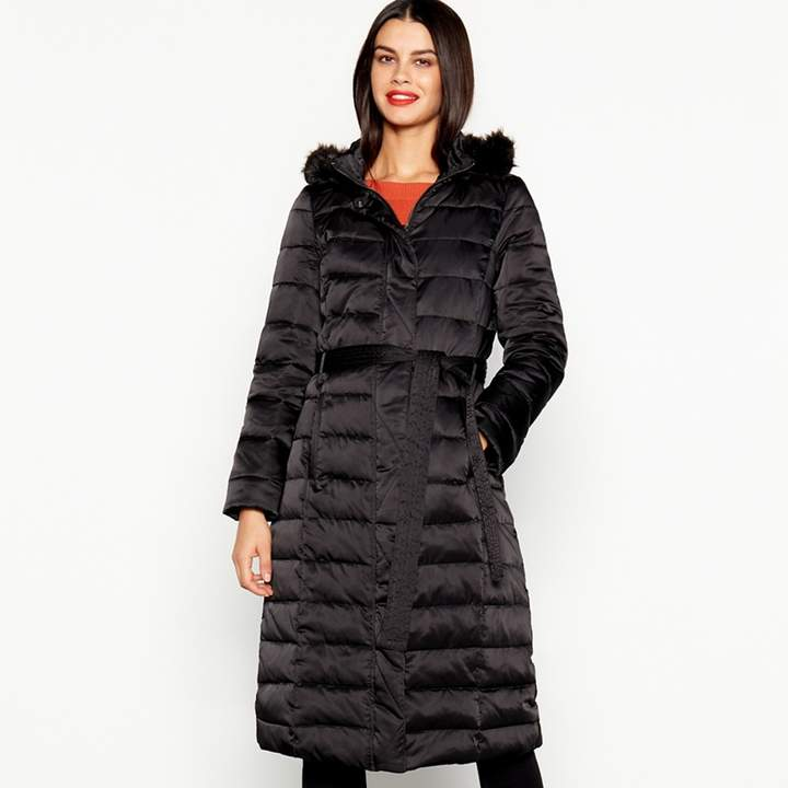 Black Quilted Feather And Down Hooded Coat