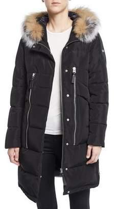 Derek Lam 10 Crosby Zip-Front Quilted Parka Jacket with Fox Fur Hood