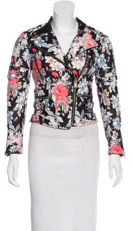 CelineCéline Floral Printed Leather Jacket