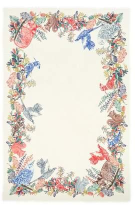 Franco Ferrari 'Tarth' woodland animal print border wool-silk scarf