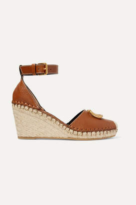 Valentino Garavani Go Logo Embellished Textured-leather Espadrille Wedge Sandals - Tan