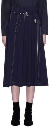 TOGA ARCHIVES Belted pleated contrast topstiching skirt