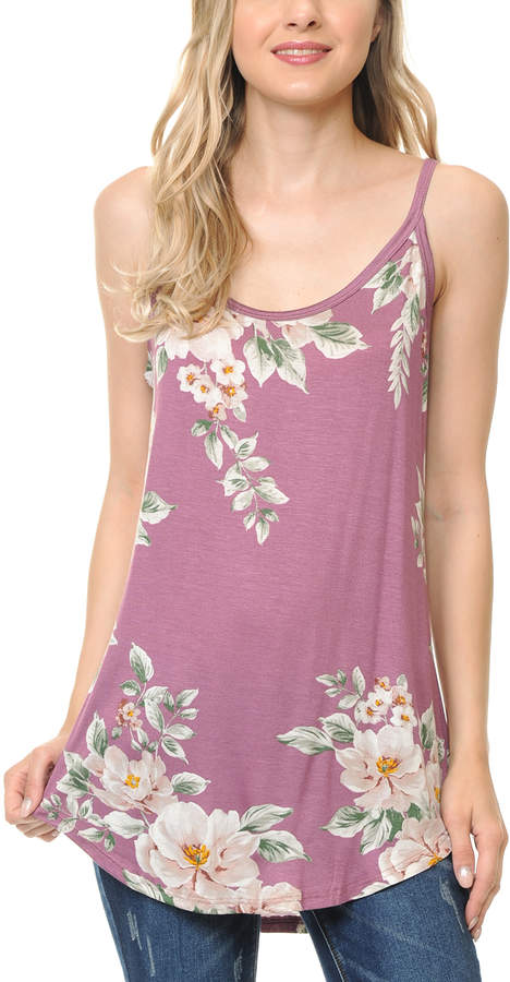 Rose & White Floral Tank - Women