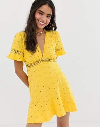 Asos Design DESIGN broderie tea dress with woven ladder trim