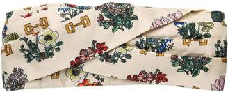 Gucci Headband with flowers and stirrups print