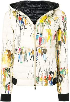 Herno floral hooded padded jacket