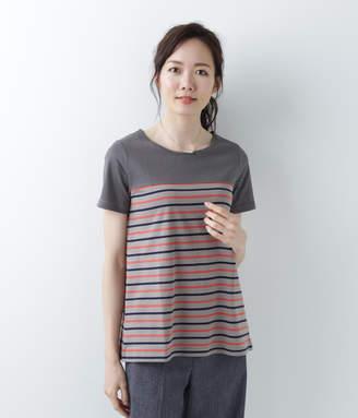NEWYORKER women's 【アウトレット】コットン天竺 マルチボーダー半袖チュニックTシャツ