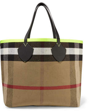 Burberry Reversible Leather-trimmed Checked Canvas Tote