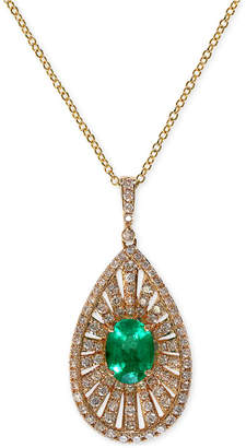 Effy Brasilica by Emerald (1-1/10 ct. t.w.) and Diamond (4/5 ct. t.w.) Pendant Necklace in 14k Gold
