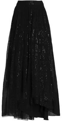 Brunello Cucinelli Sequined Silk-Georgette Maxi Skirt