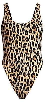 Alice + Olivia Women's Arona Deep Scoop Back Leopard Print Bodysuit