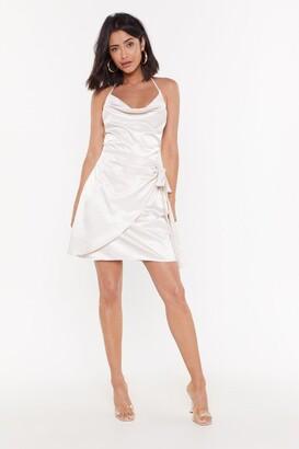 Nasty Gal Satin Strappy Cowl Tie Side Mini Dress