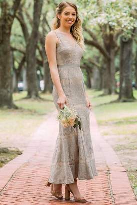 Charlotte Lace Mermaid Bridesmaid Dress - Gray